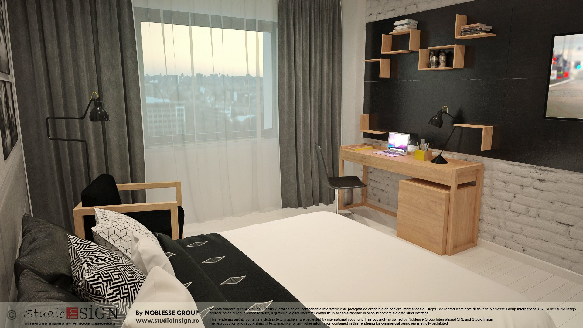 Proiect amenajare camera hotel in stil loft industrial newyorkez-seara-3
