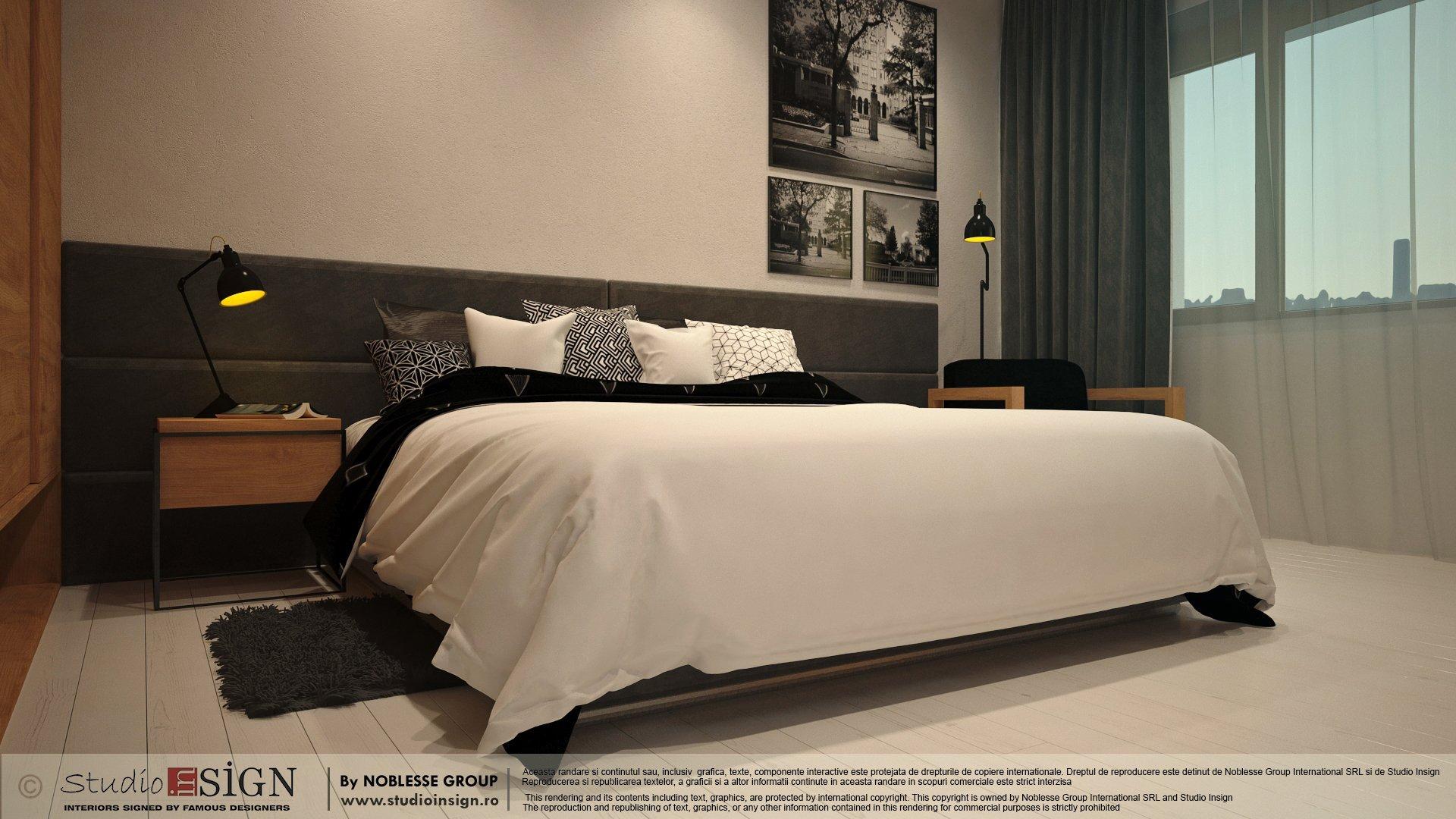 Proiect amenajare camera hotel in stil loft industrial newyorkez-seara