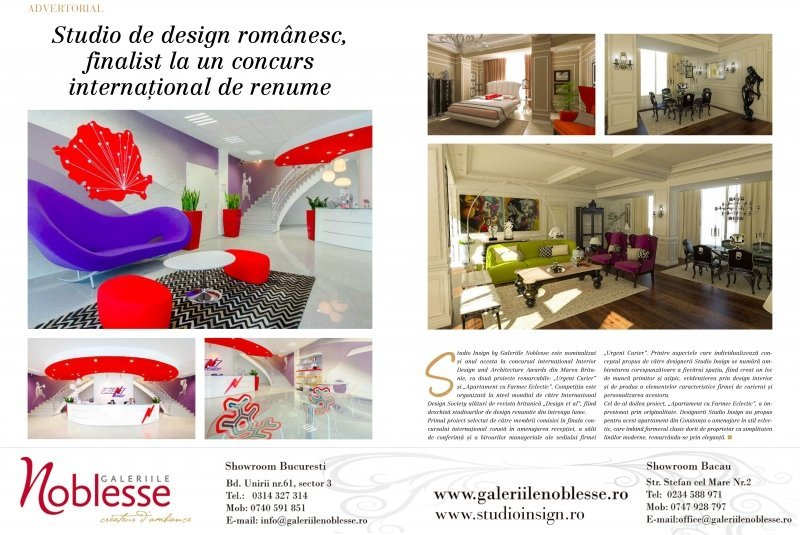 Revista Casa Lux, august 2013 - Studio Insign, studioul de design interior, este finalist la Interior Design and Architecture Awards