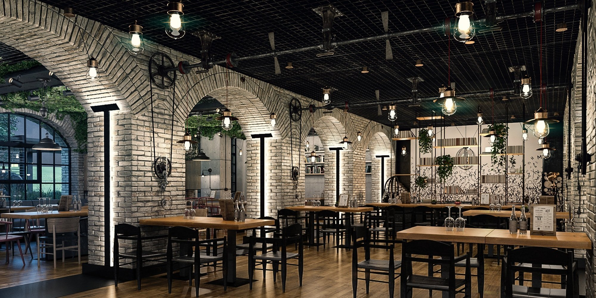 The publisher restaurant industrial design style for Ristoranti design