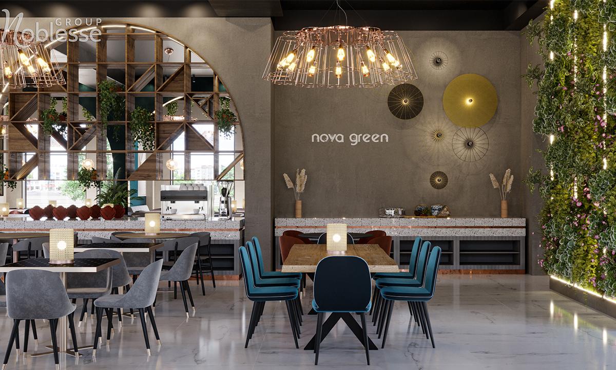 amenajare interioara restaurant modern industrial